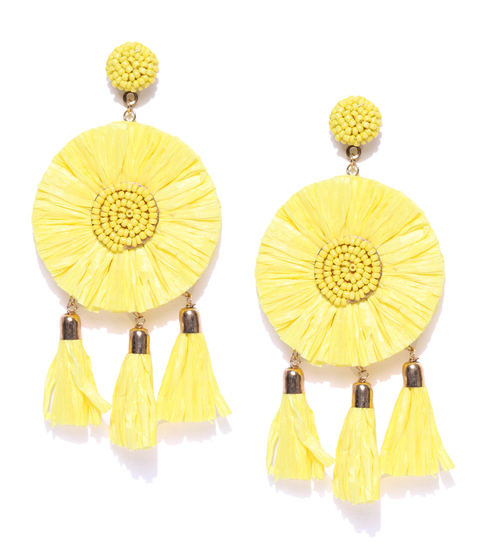 Blueberry yellow raffia tassel drop earring