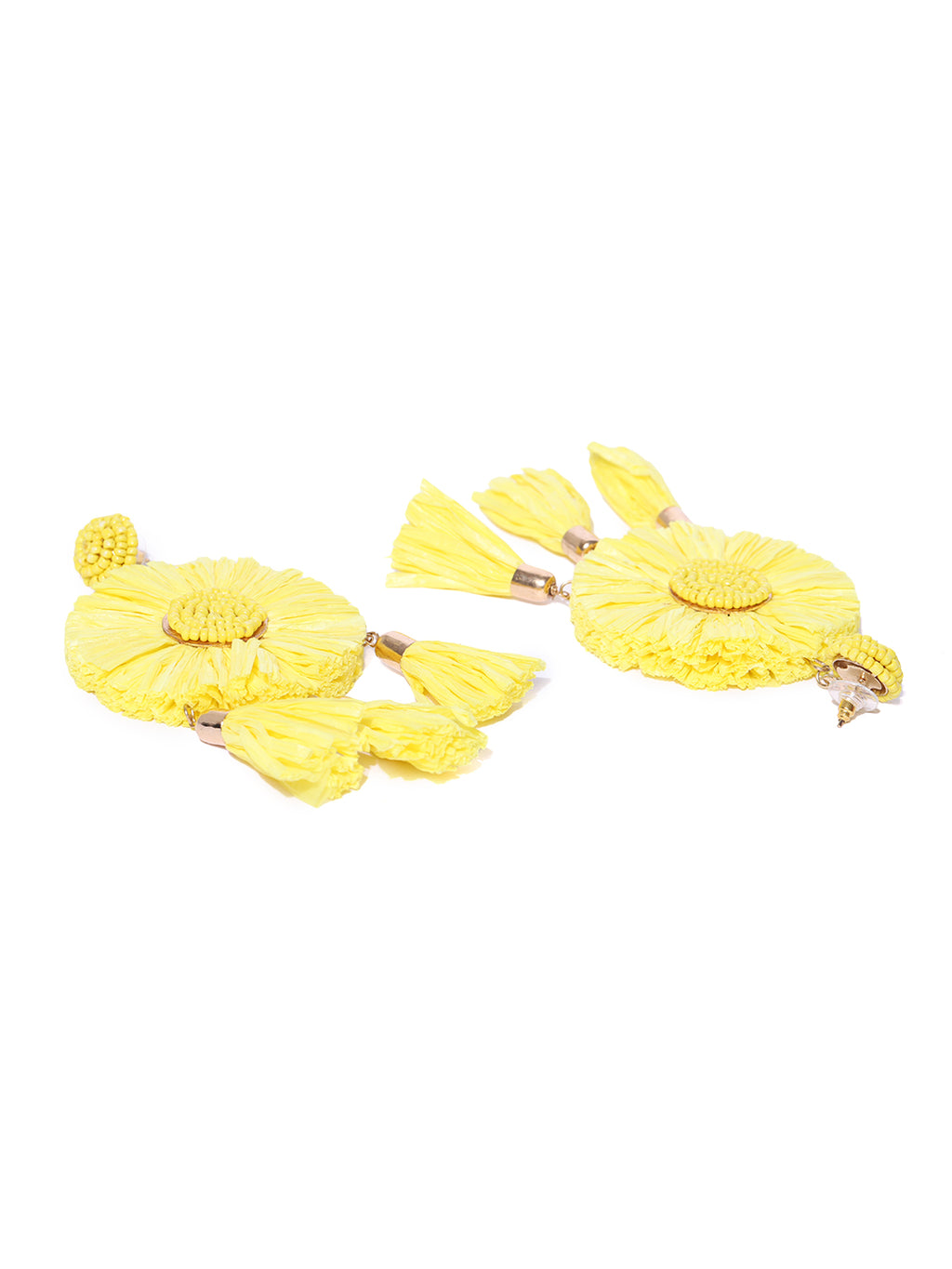 Blueberry yellow tassel drop earring