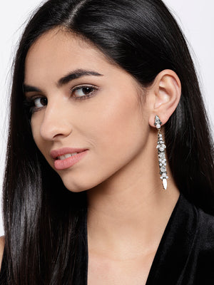 Blueberry white stone studded drop earring