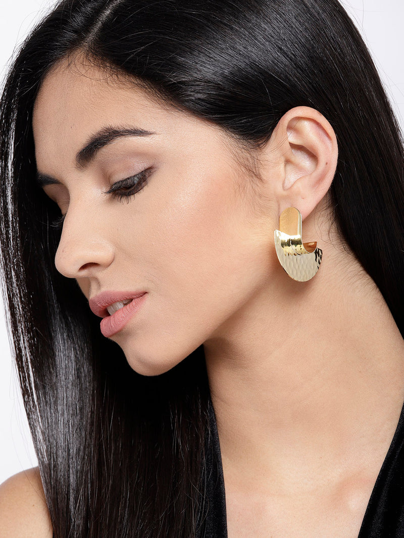 Blueberry golden metal texture drop earring