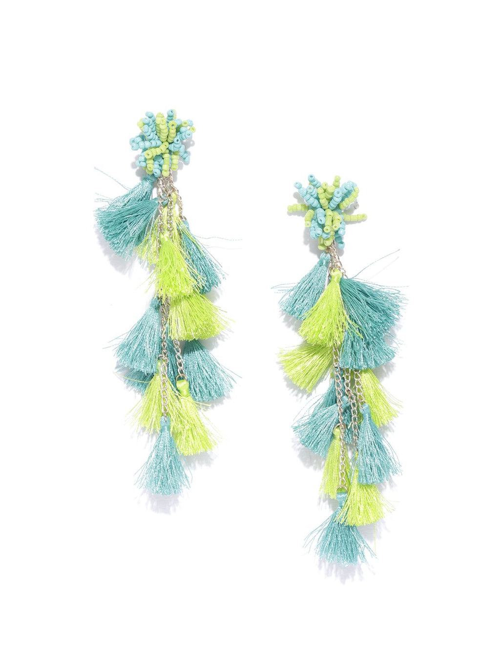 Blueberry green tassel detailing drop earring