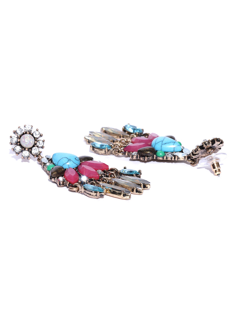 Blueberry multicolored stone studded drop earring