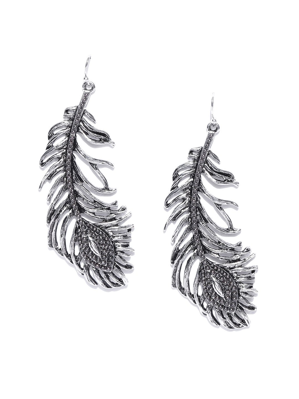 Blueberry antique silver feather shape drop earring