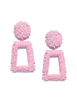 Blueberry pink color texture drop earring