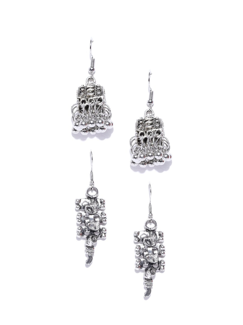 Blueberry set of 2 silver plated drop earring