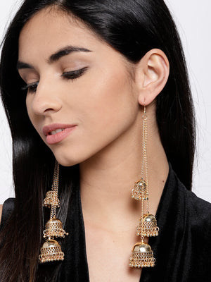 Blueberry gold plated jhumka drop earring