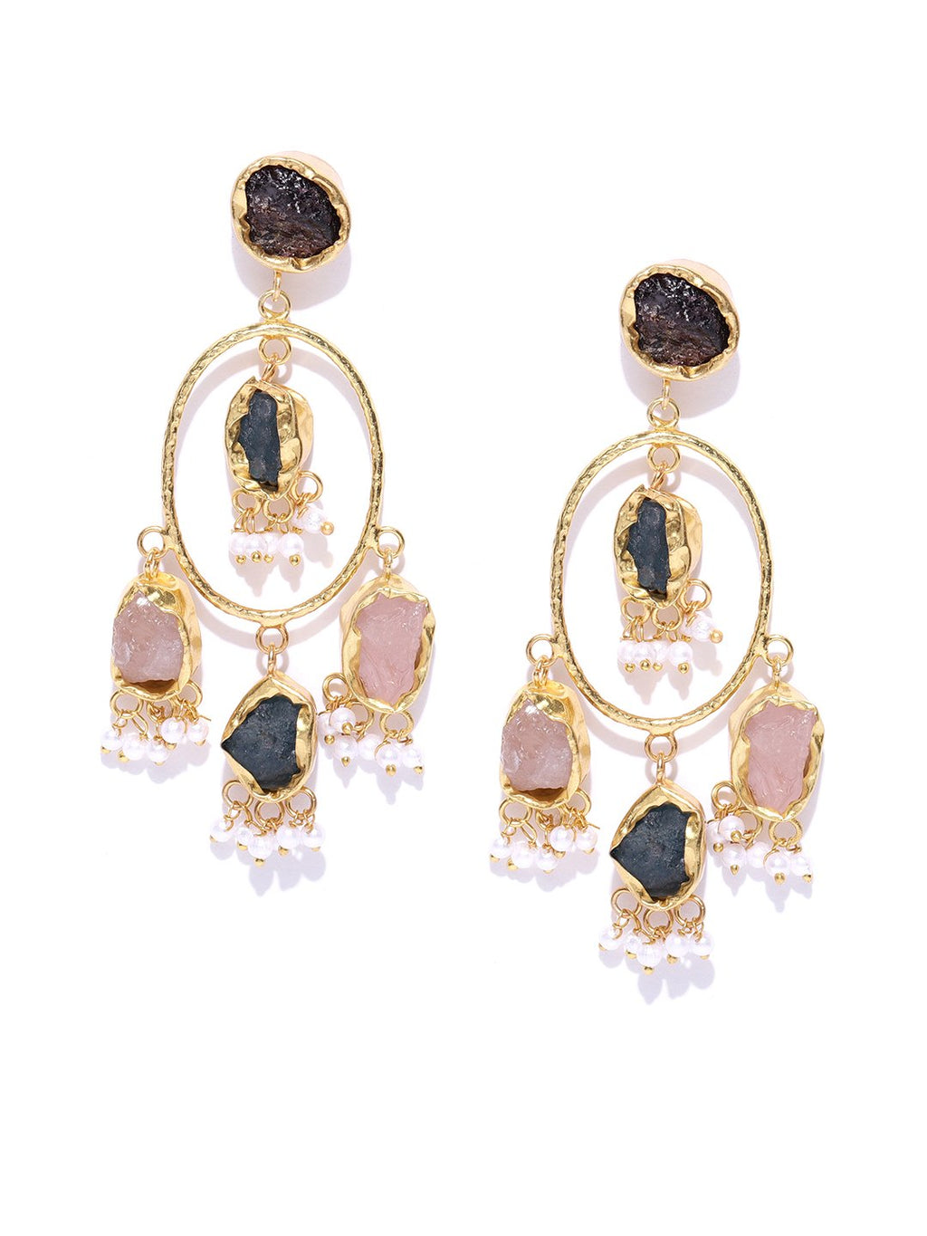 Blueberry gold plated multi color stone detailing drop earring