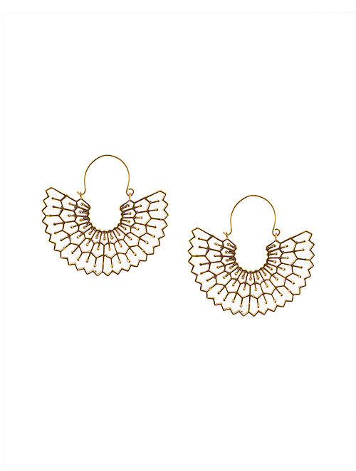 Blueberry gold plated cut off detailing drop earring