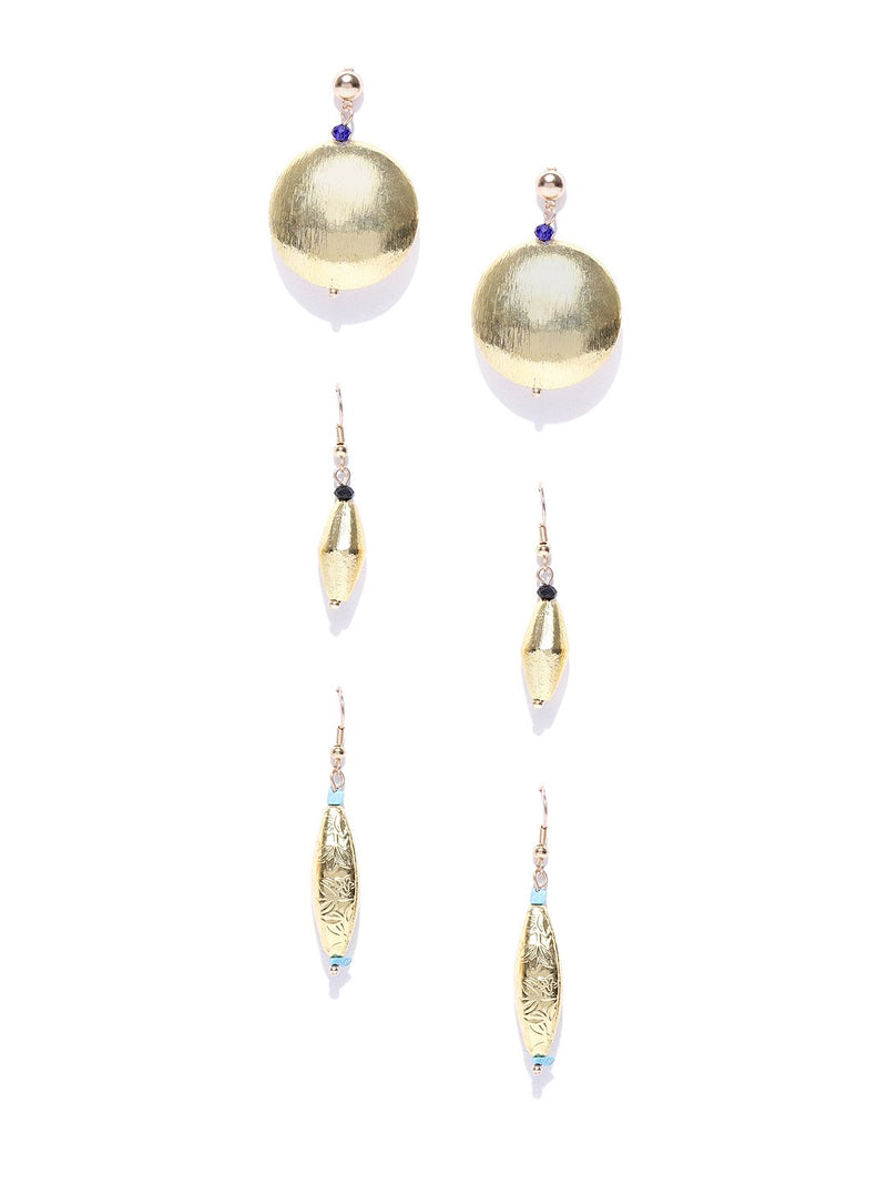 Blueberry set of 3 gold plated drop earring