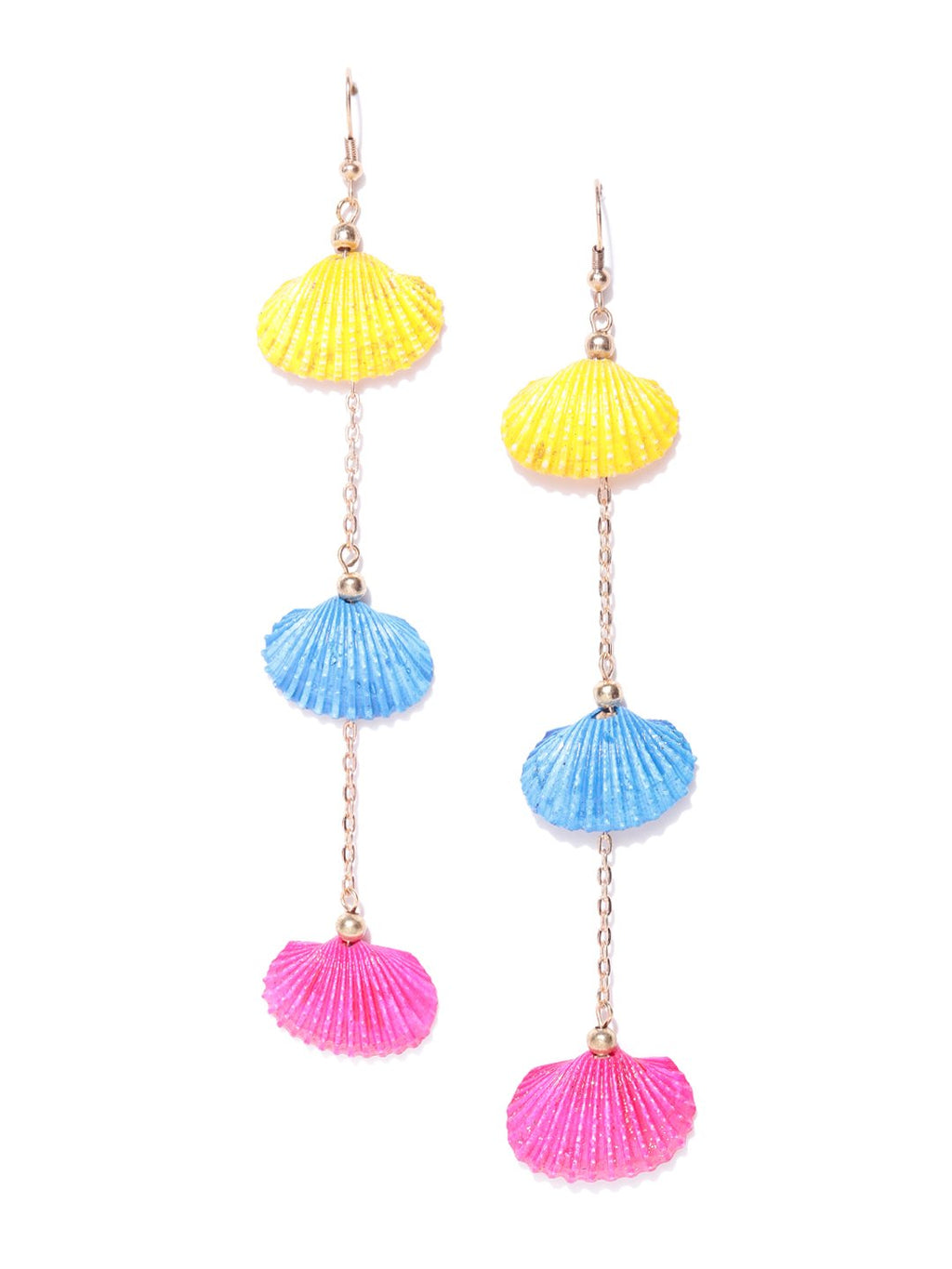 Blueberry multi color shell detailing chain drop earring