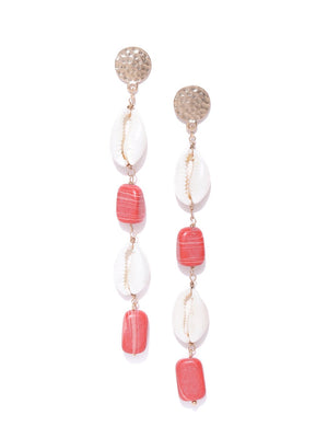 Blueberry multi stone and shell detailing drop earring