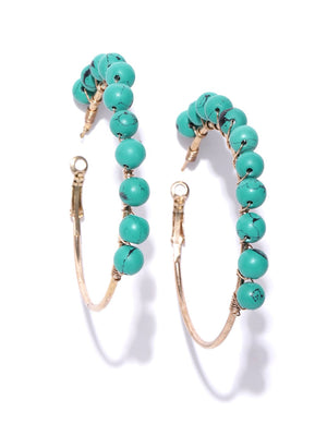 Blueberry turquoise blue beaded detailing hoop earring