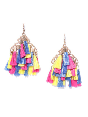 Blueberry multi colour raffia tassel detailing drop earring