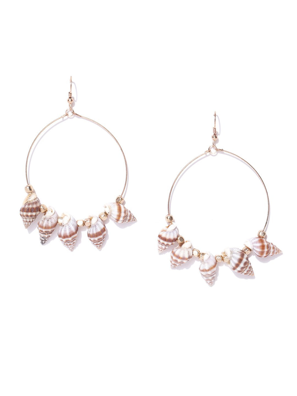 Blueberry multi plated shell detailing hoop earring
