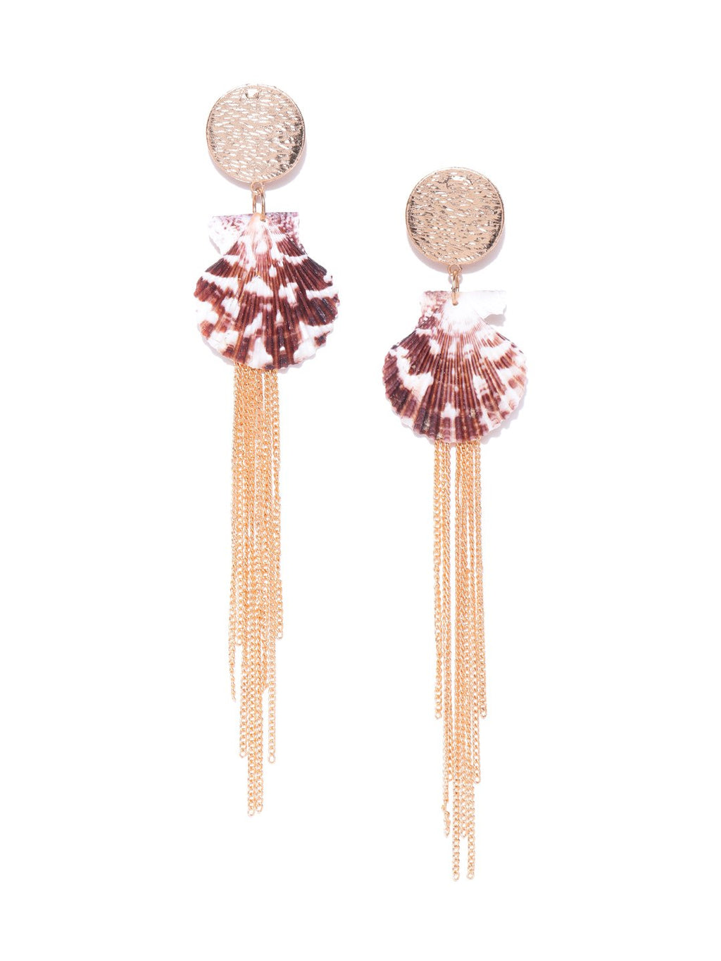 Blueberry gold plated chain has shell detailing drop earring