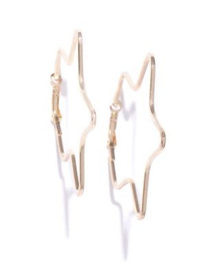 Blueberry gold plated zik zak shape hoop earring