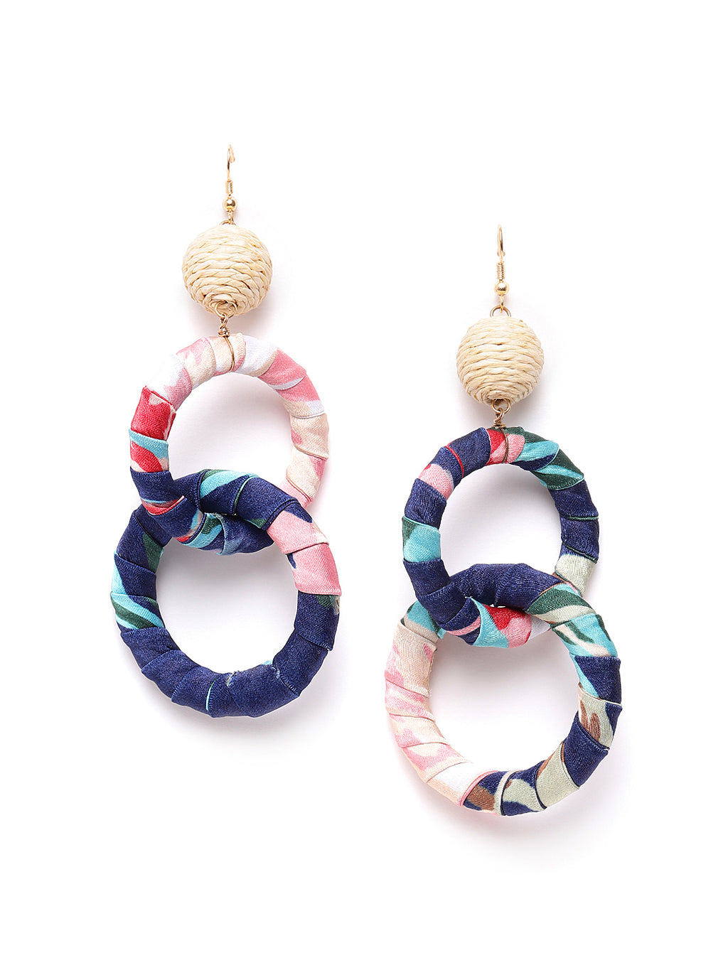 Blueberry multi interlock circular drop earring