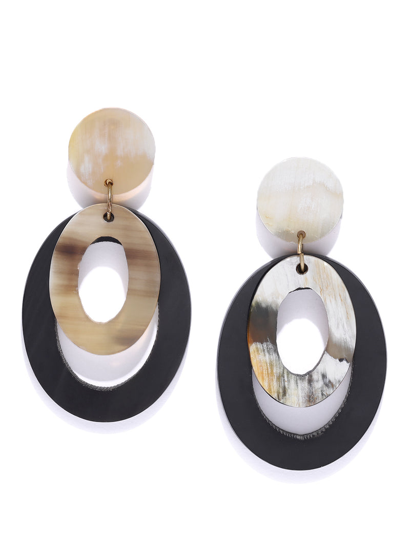 Blueberry black cirular shape drop earring