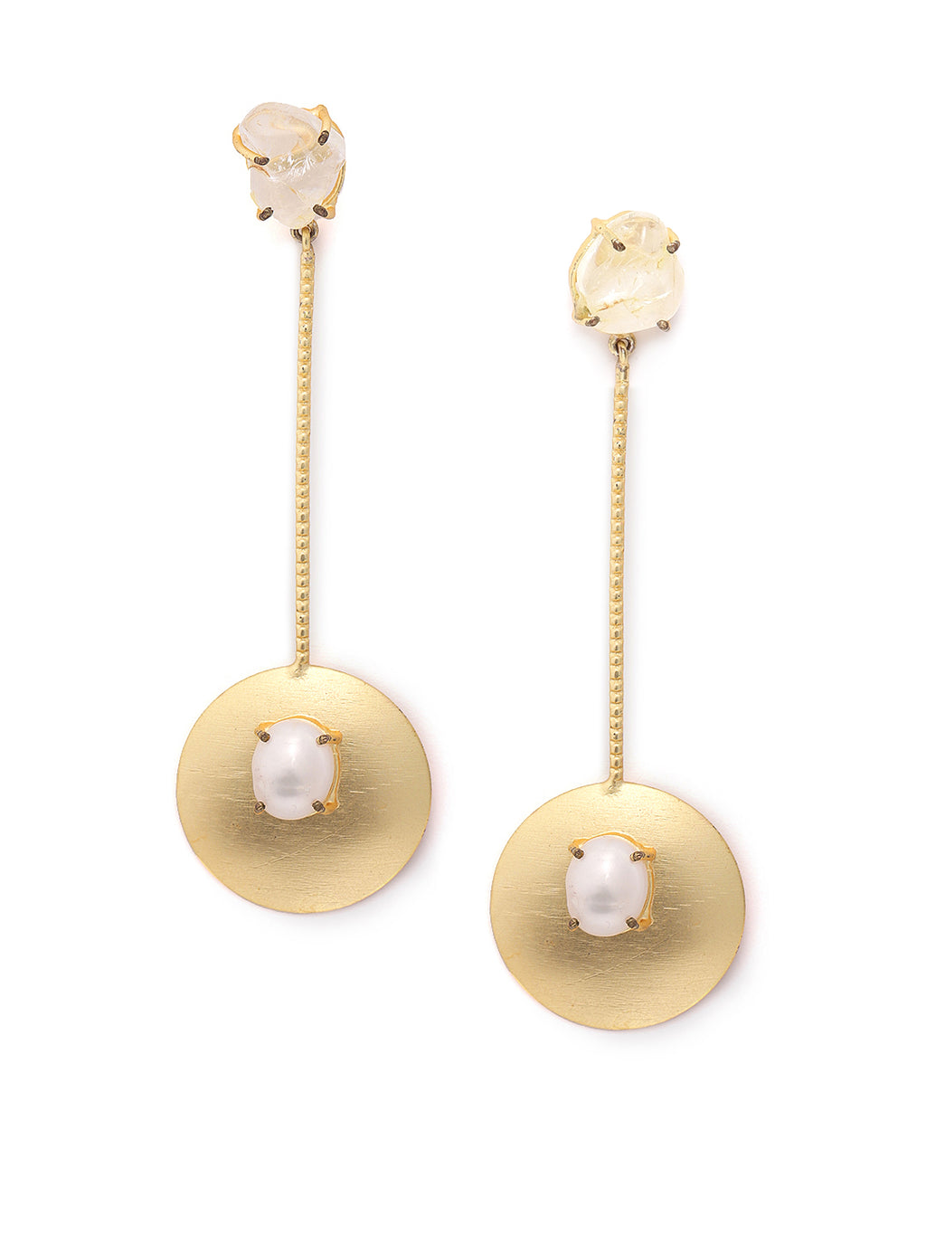Blueberry gold plated pearl embellished drop earring