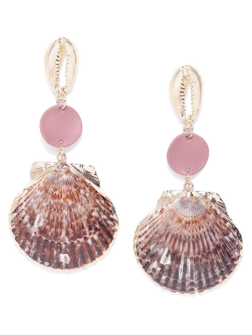 Blueberry golden plated shell detailing drop earring