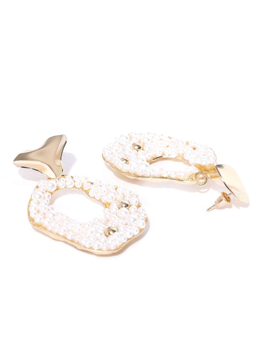 Blueberry white pearl detailing gold plated drop earring