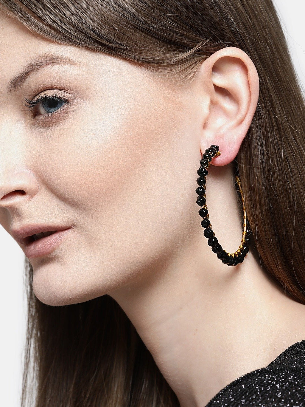 Blueberry black beaded detailing Hoop earring