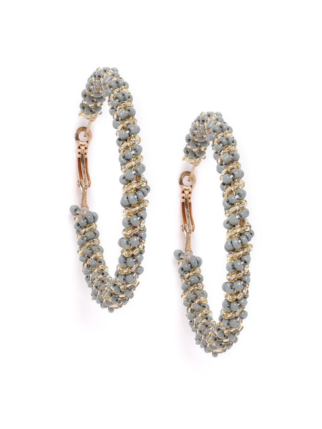 Blueberry grey anf golden colour beaded detailing hoop earring