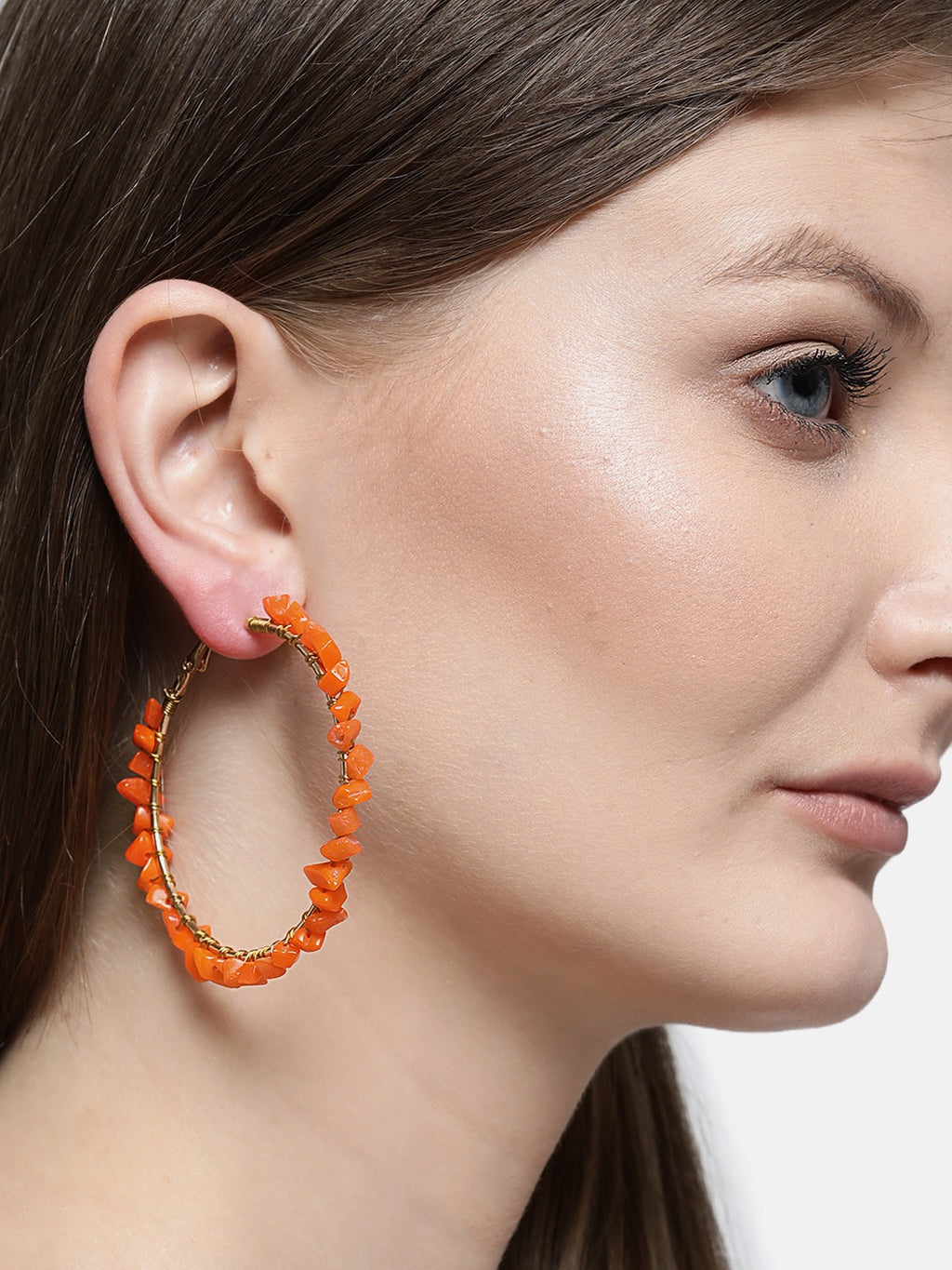 Blueberry orange colour stone detailing hoop earring