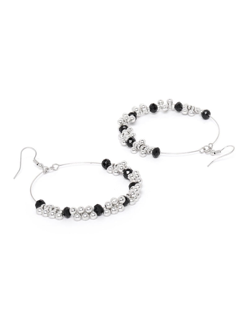 Blueberry silver beaded detailing drop earring