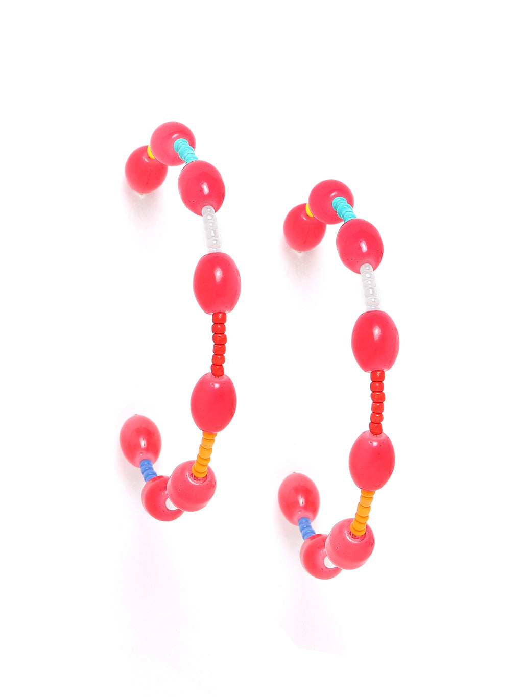 Blueberry multi colour beaded detailing hoop earring