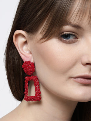 Blueberry red colour square shape drop earring