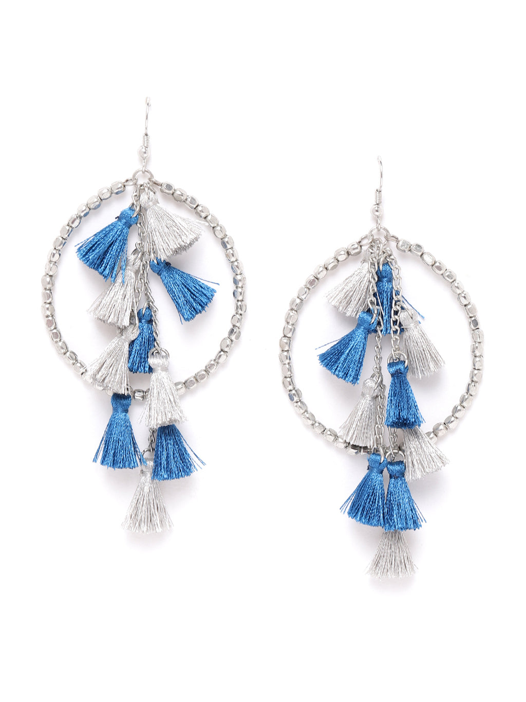 Blueberry multi colour tassel detailing drop earring