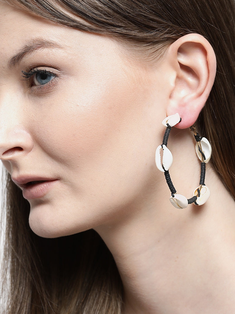 Blueberry white shell detailing hoop earring