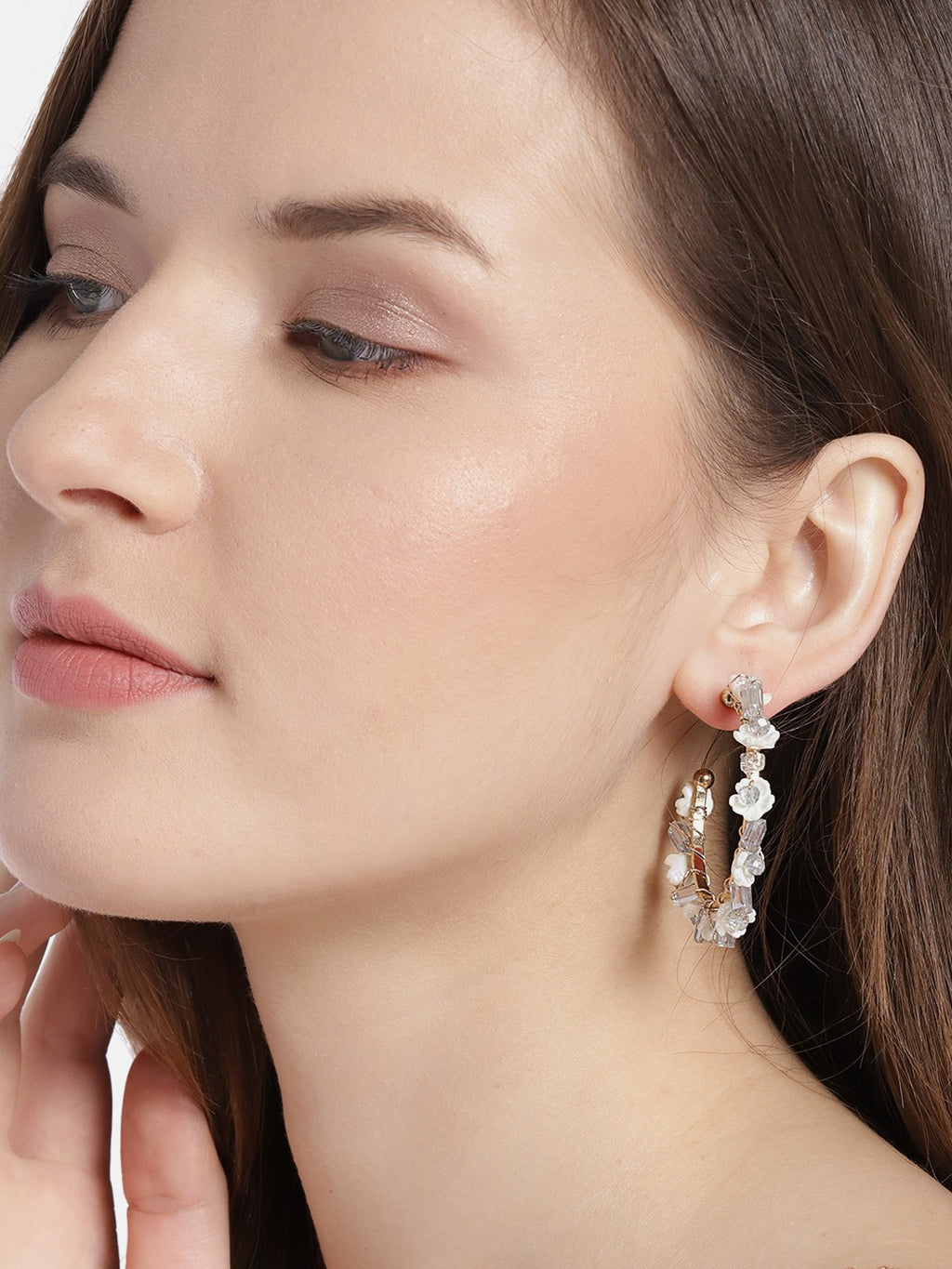 Blueberry white flower and crystal stone Embellishment half hoop earring