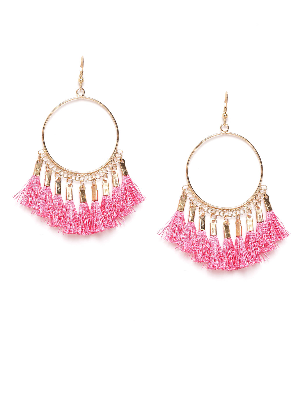 Blueberry pink tasseled gold plated drop earring