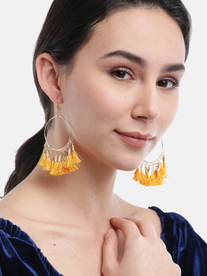 Blueberry yellow tasseled gold plated drop earring
