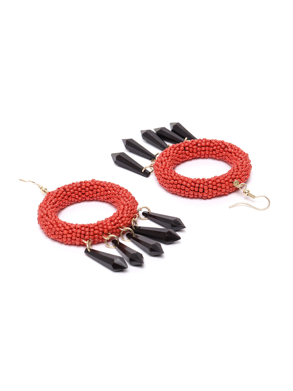 Blueberry red beads embellished circular drop earring