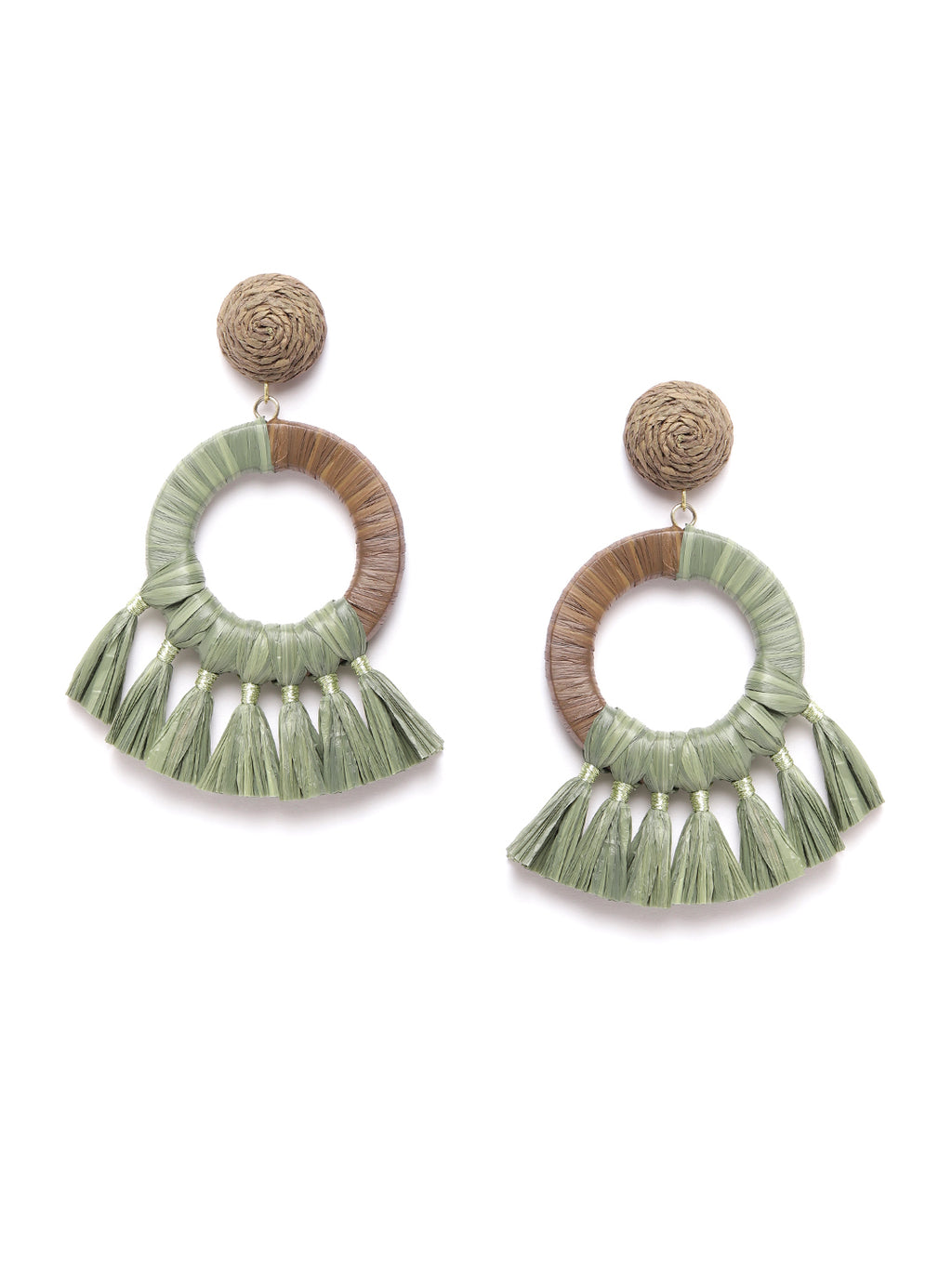 Blueberry green rafia tassel circular drop earring