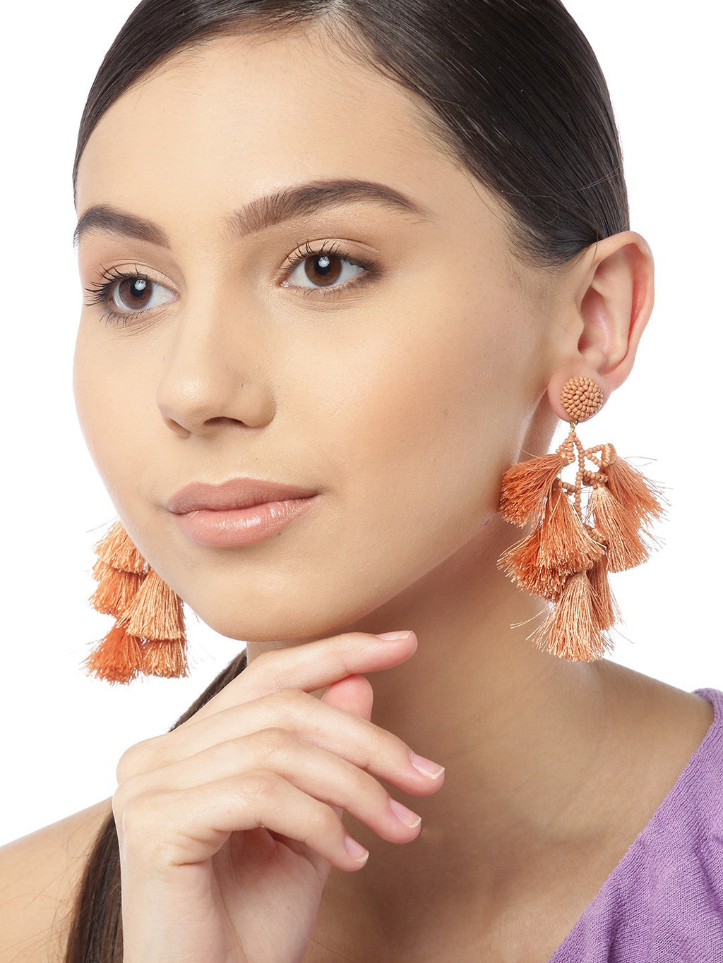 Blueberry peach tasselled drop earring