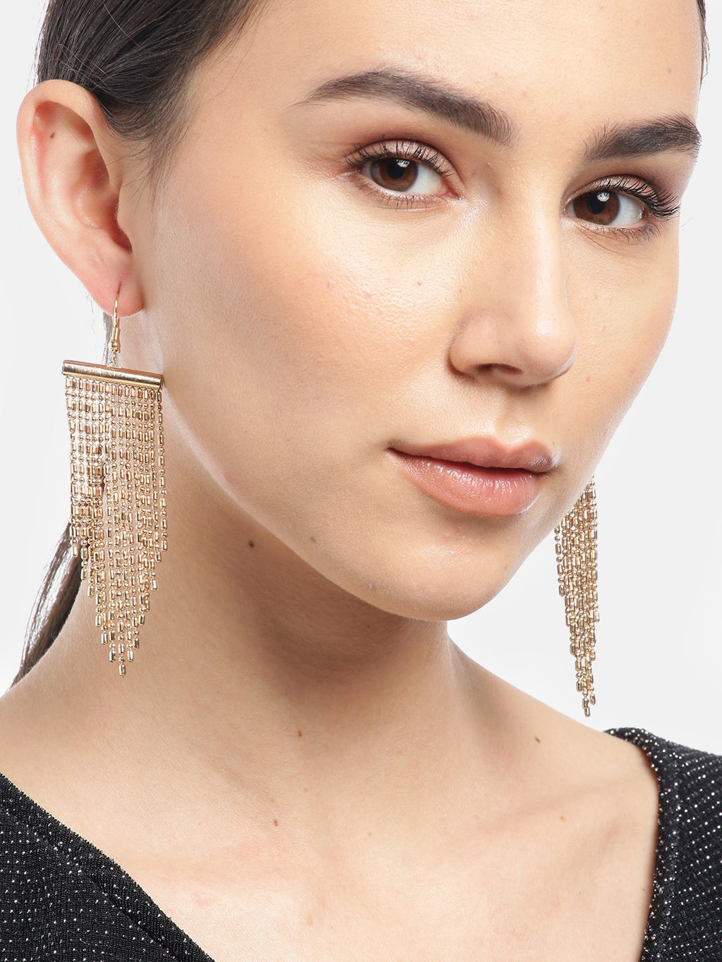 Blueberry gold plated chain drop earring