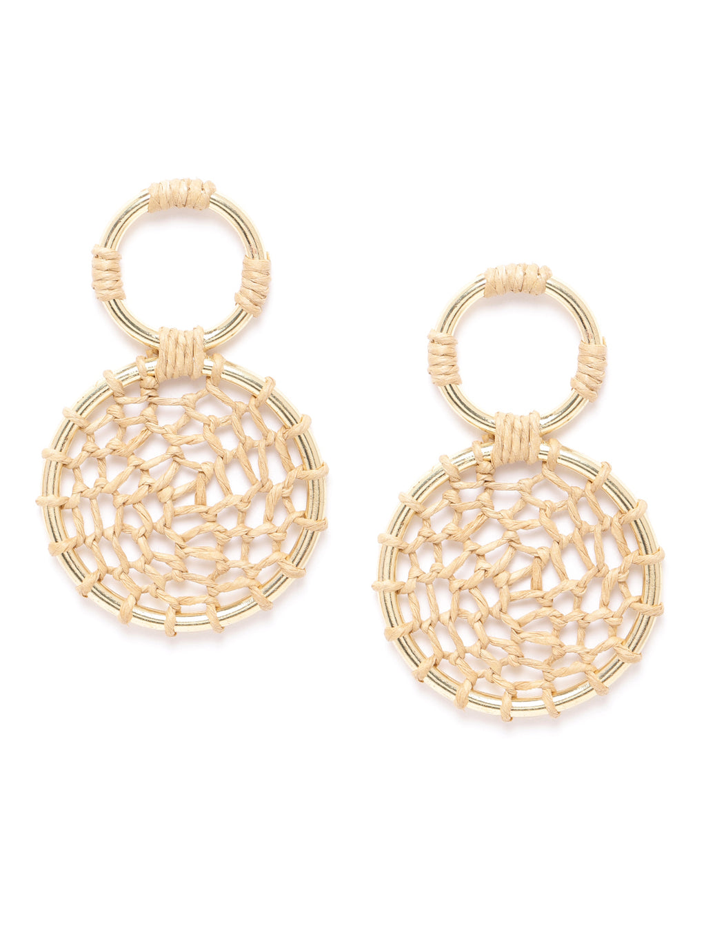 Blueberry gold plated circular jute drop earring