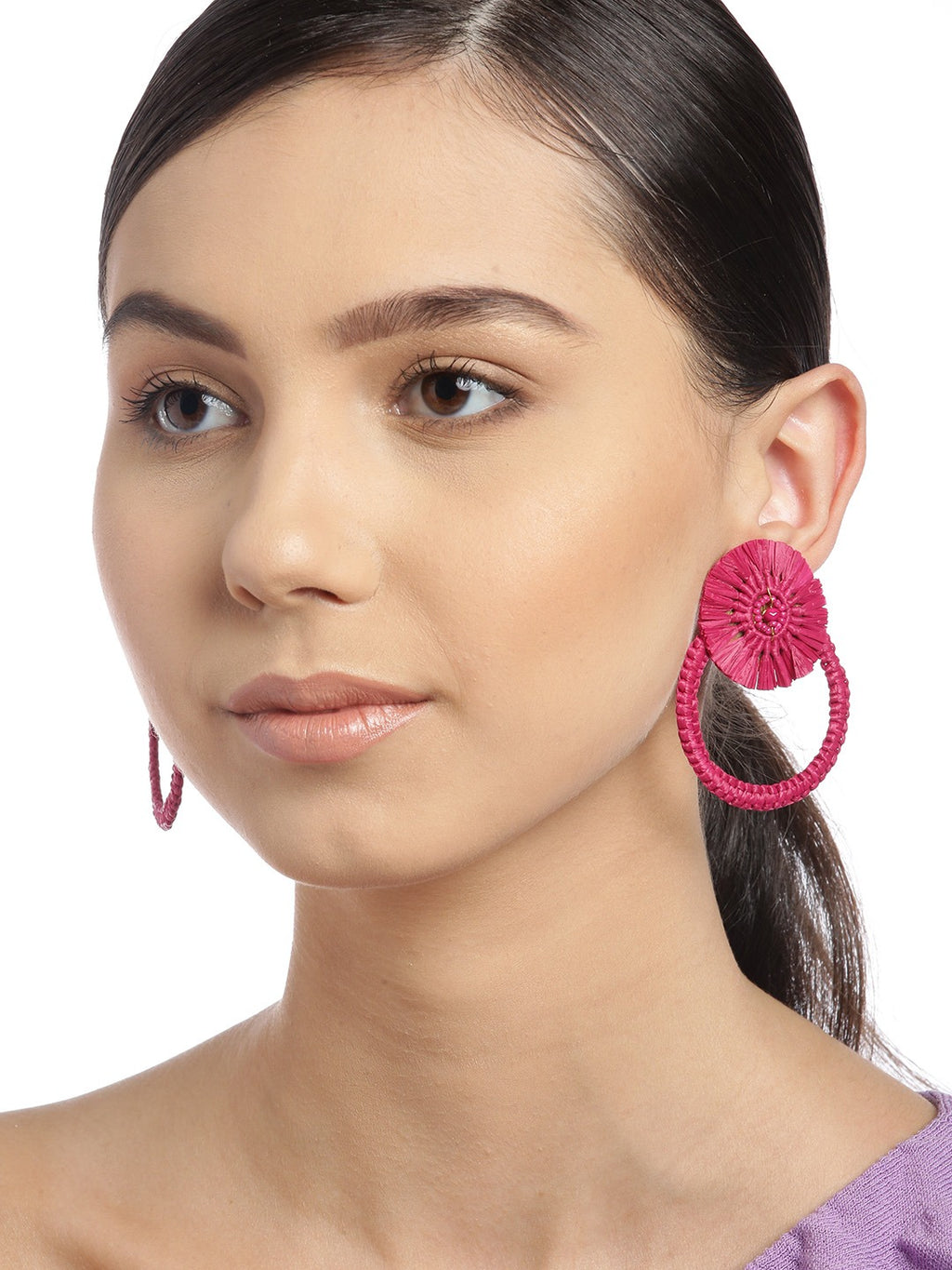 Blueberry pink raffia drop earring