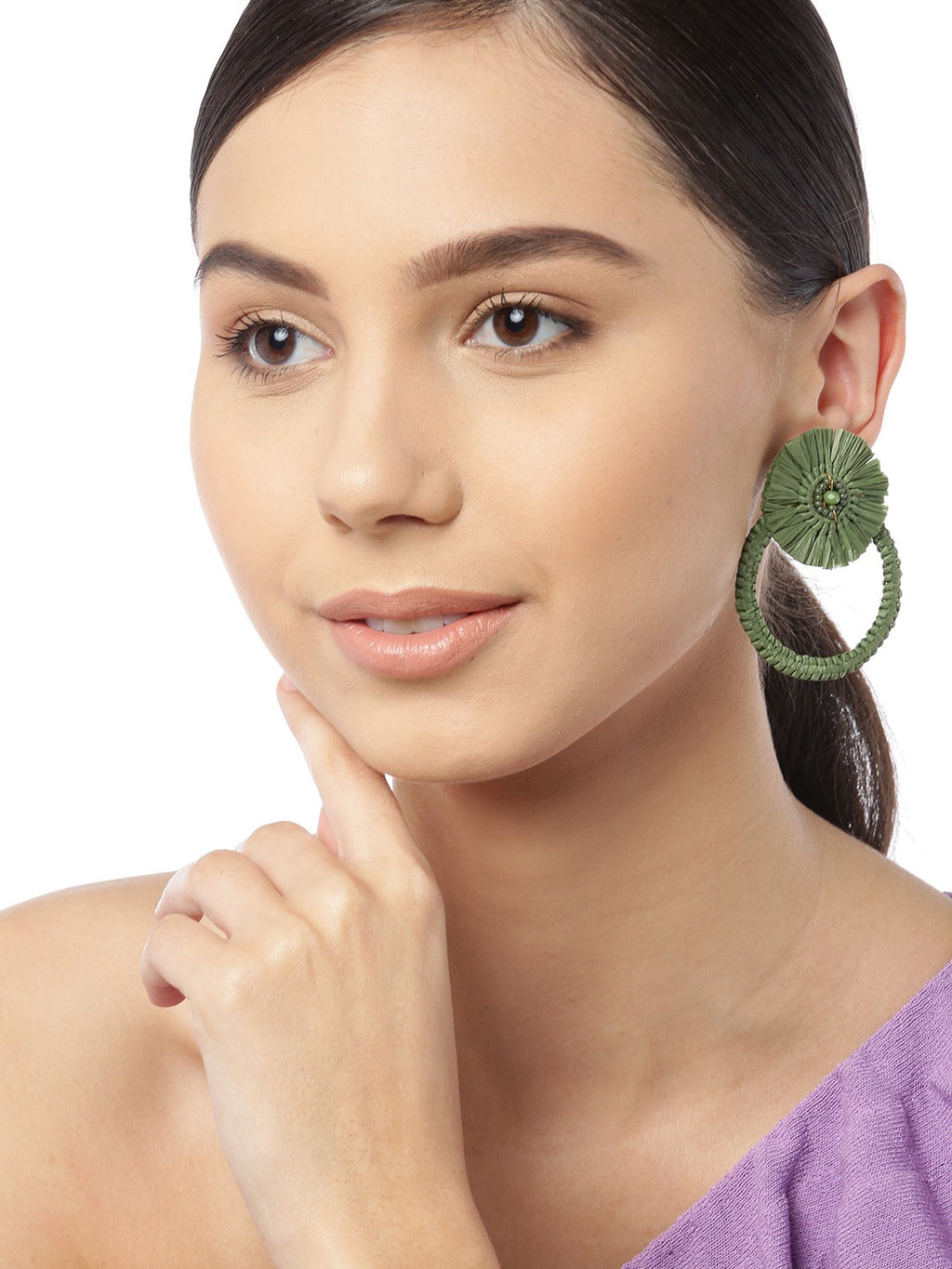 Blueberry green raffia drop earring