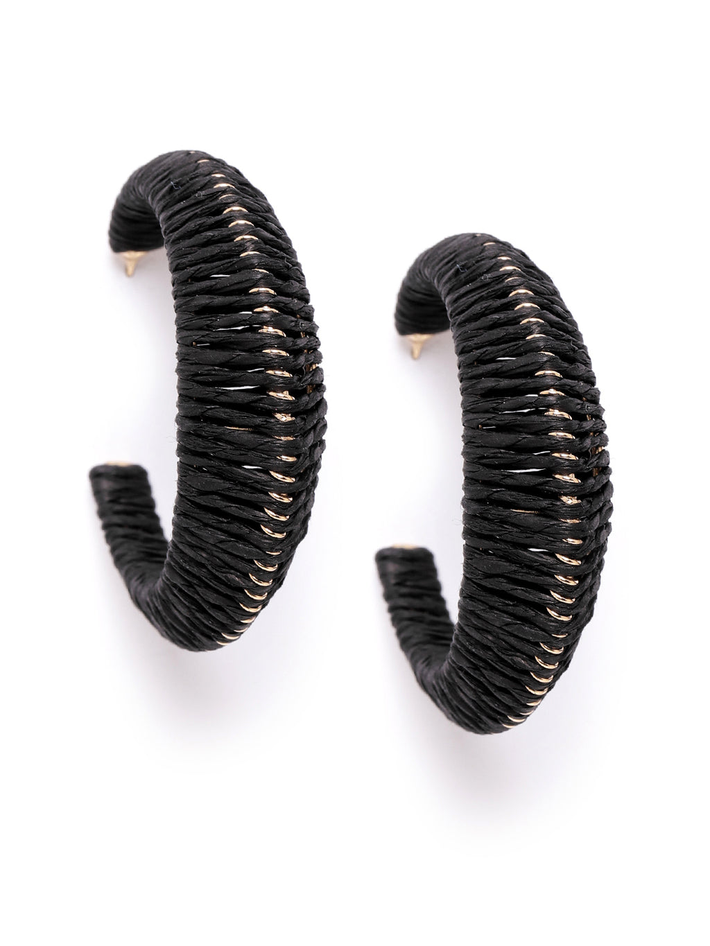 Blueberry black raffia hoop earring