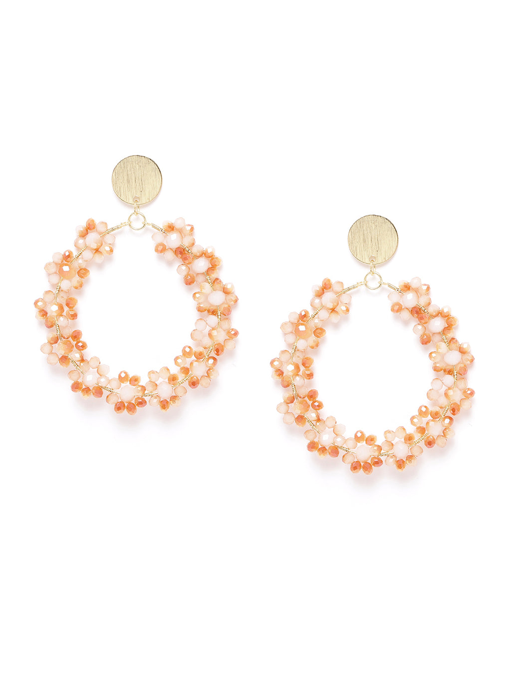 Blueberry peach beaded detailing circular drop earring