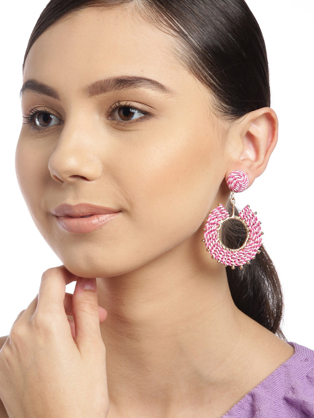 Blueberry peach and pink raffia circular drop earring