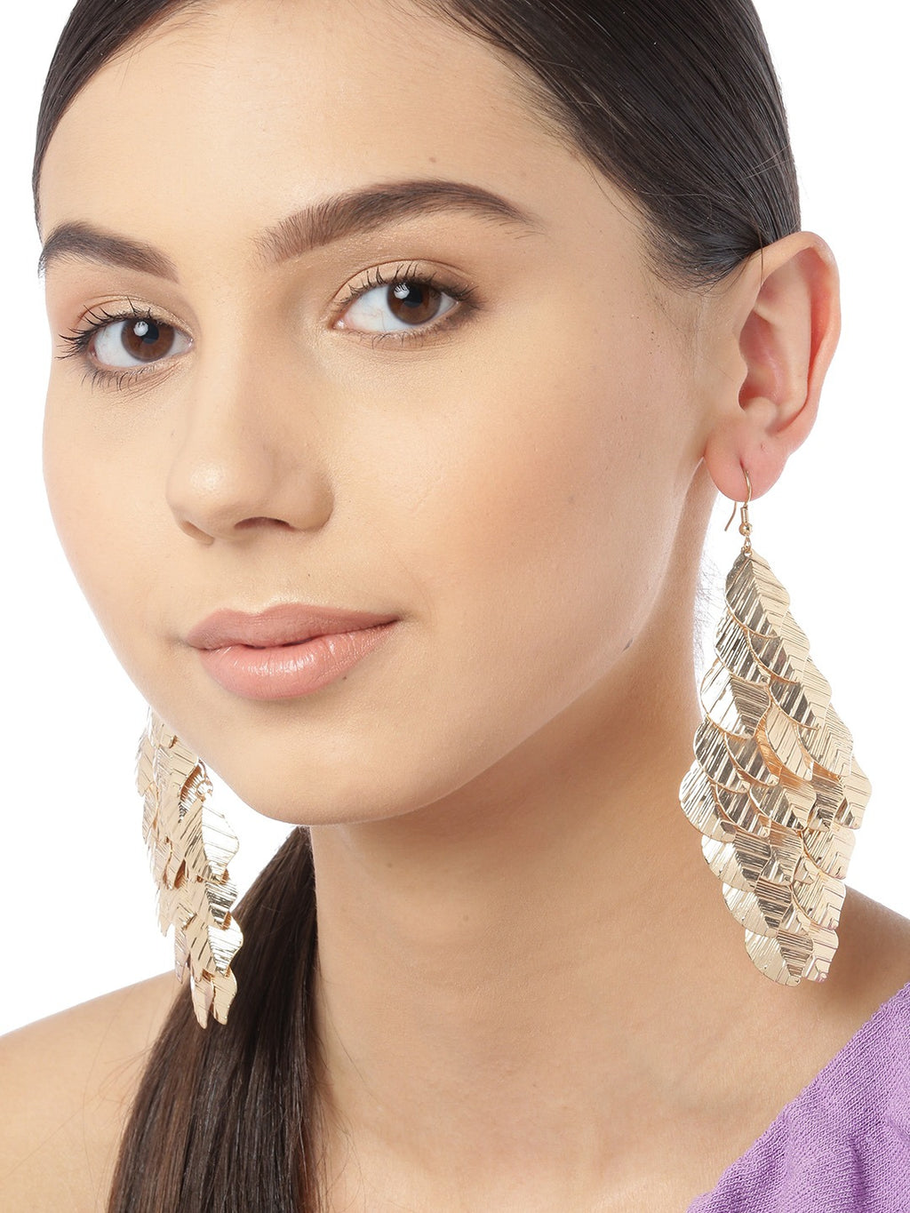 Blueberry gold plated leaf drop earring