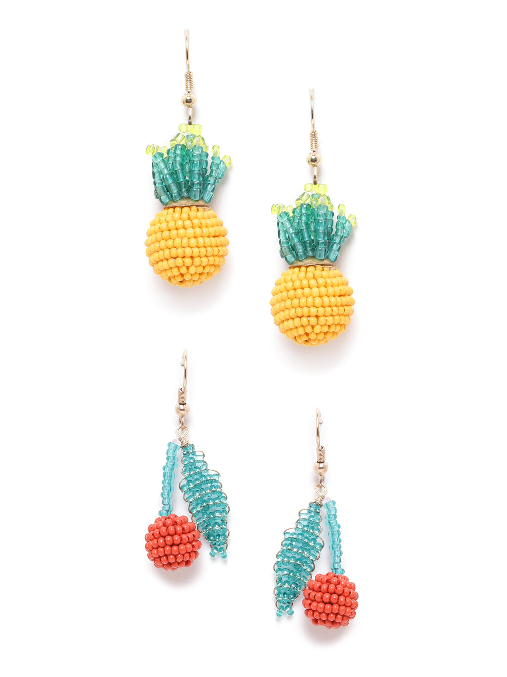Blueberry set of 2 tropical pineapple and strawberry earring