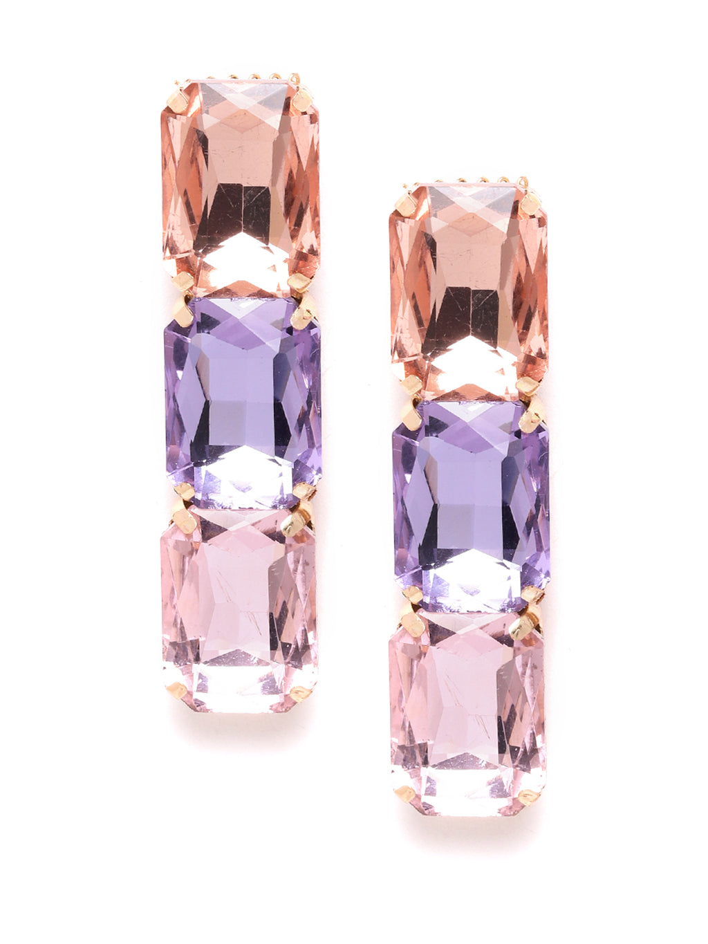 Blueberry multi crytal diamond stone embellished drop earring