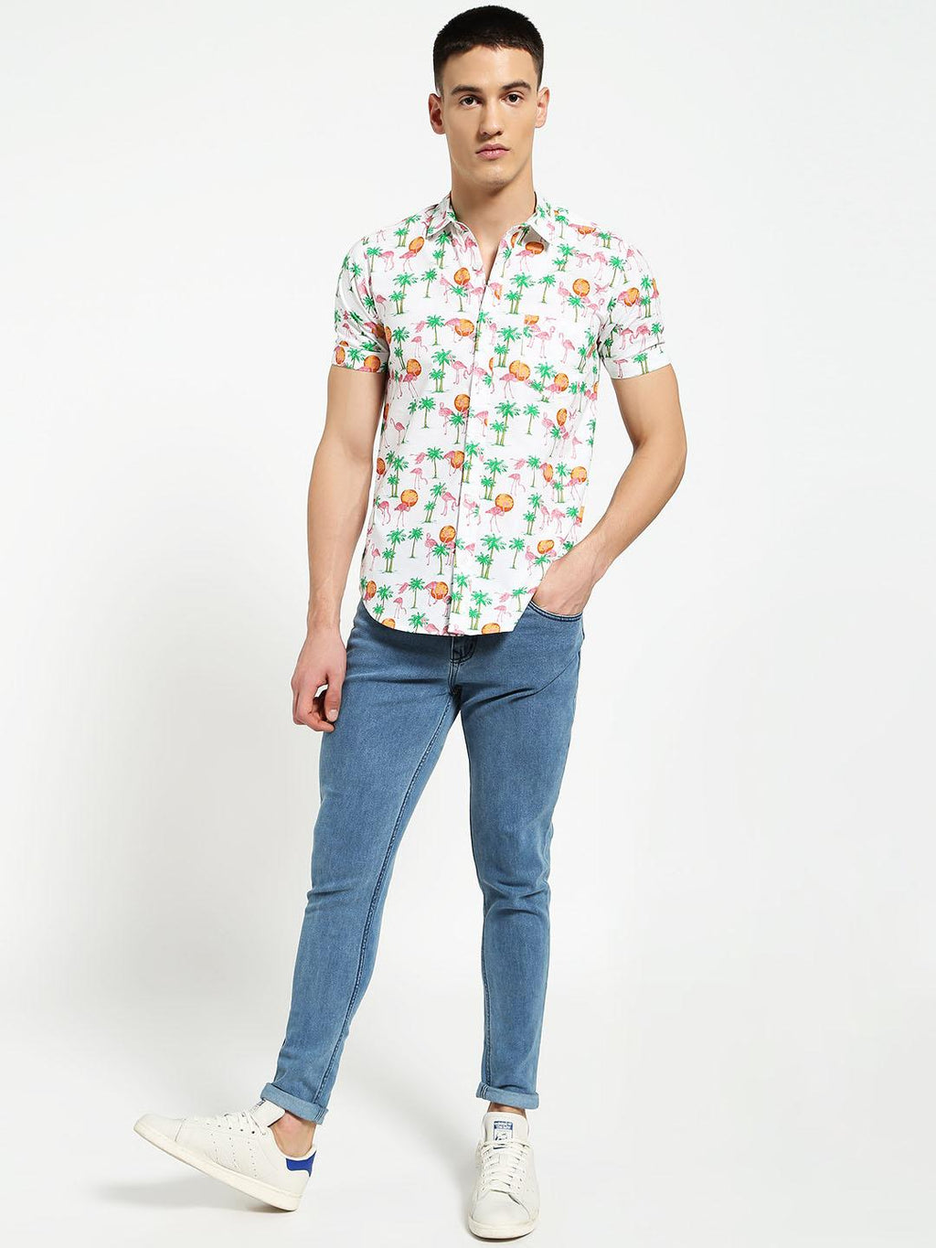 Lazy panda  flamingo tropical print shirt